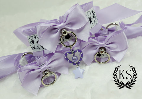 Lavender Kitty Heart Thick Collar and Cuff Set