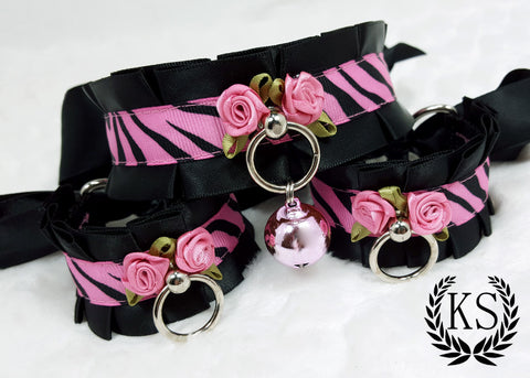 Pink Rose Striped Thick Collar and Cuff Set