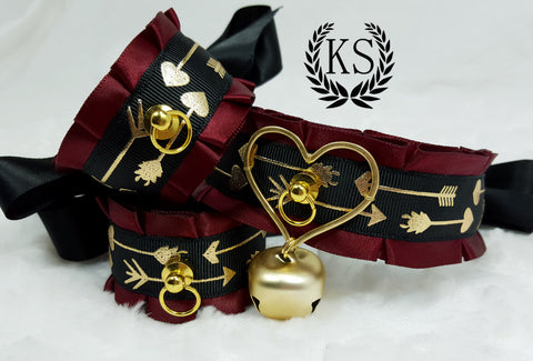 Golden Heart Arrow Thick Collar and Cuff Set