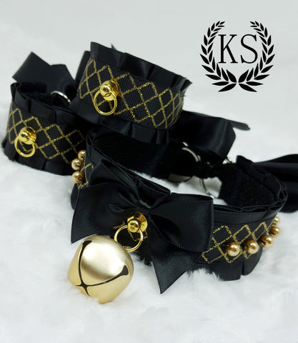 Black and Gold Beaded Thick Collar and Cuff Set