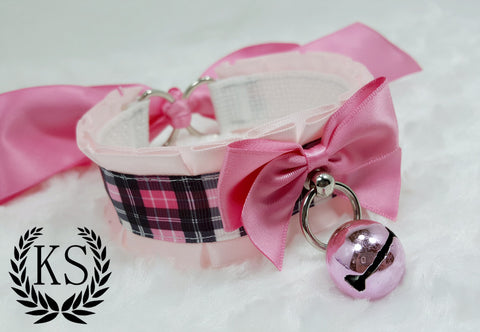 Pink Plaid Thick Collar