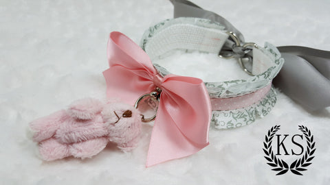 Pink Polkadot Teddy Thick Little's Collar