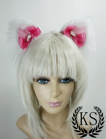White and Pink Pokadot Magnetic Bow Lavish Ears