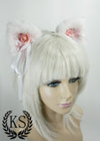 White and Light Pink Ribbon Rose Magnetic Bow Lavish Ears