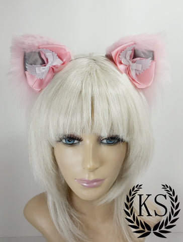 Pink and Silver Magnetic Wing Bows Lavish Ears