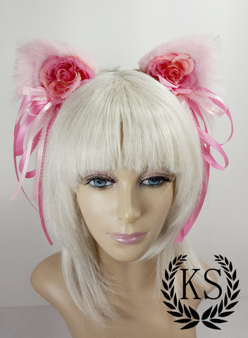 Pink Floral Ribbon Lavish Ears