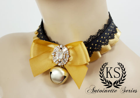Black Lacke and Gold Jeweled Antoinette Collar