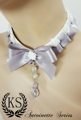Silver and White Rose Antoinette Collar