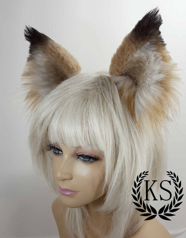Black Tipped Tan Realistic Wolf Ears