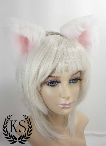 White and Light Pink Realistic Lavish Ears