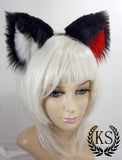 Black, White, and Red Offset Realistic Lavish Ears