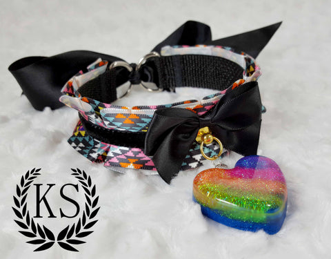 Pixelated Rainbow Thick Collar