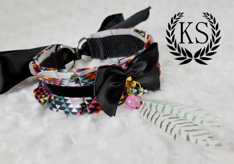 Pixelized Rainbow Feather Thick Collar