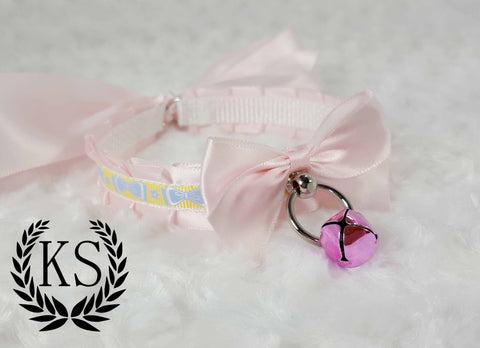Baby Pink Bowed Skinny Kitty Collar