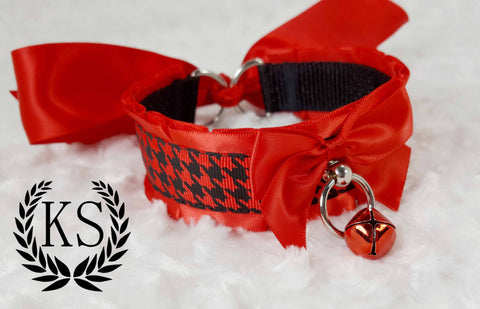Red Houndstooth Thick Collar