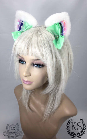 White and Mint Heart Luxury Ears