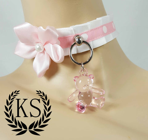 Crystal Teddy Skinny Kitty Collar
