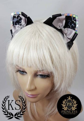 Silver Leopard Furless Patterned Princess Ears