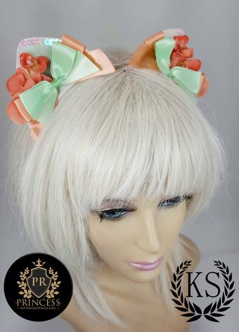 Peach Colored Floral Furless Patterned Princess Ears