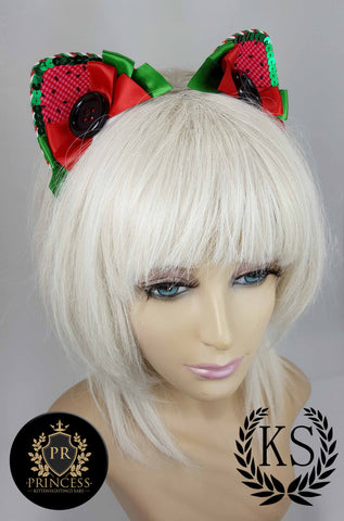 Watermellon Furless Patterned Princess Ears