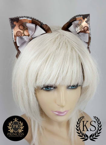 Pointed Golden Steampunk Furless Patterned Princess Ears