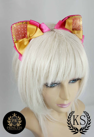 Shimmery Gold and Hot Pink Furless Princess Ears