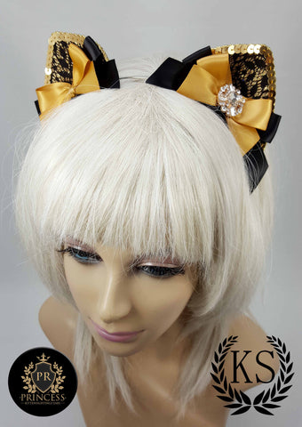 Gold Quatrefoil Furless Patterned Princess Ears