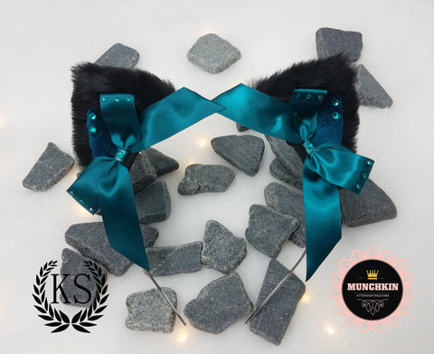 Black and Teal Crystal Munchkin Ears