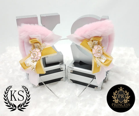 Light Pink and Gold Rose Princess Ears