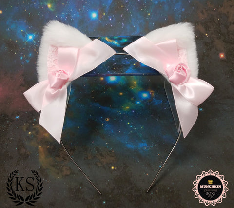 White and Pink Rose Munchkin Ears