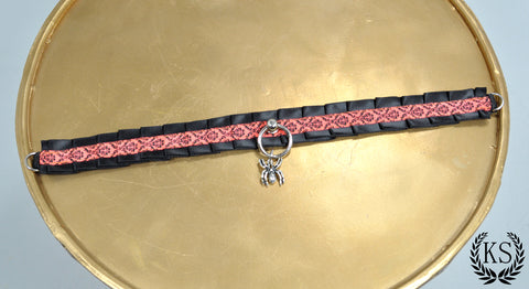Black and Red Spider Skinny Kitty Collar