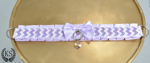 Lavender Beaded Cheveron Thick Collar