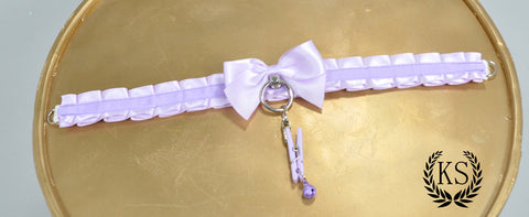 Lavender Clothespin Skinny Kitty Collar