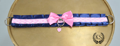 Blue and Pink Heart Thick Collar