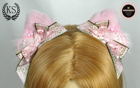 Pink Floral Flourish Pixie Munchkin Ears