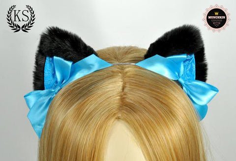 Black and Aqua Munchkin Ears