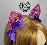 Pink and Purple Crystal Small 2D Ears