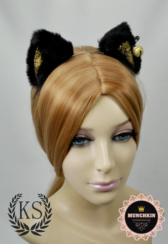 Black and Gold Bell Bowless Fur Munchkin Ears