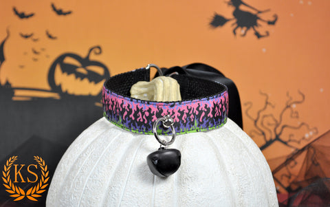 Spooky Flame Thick Ruffless Collar