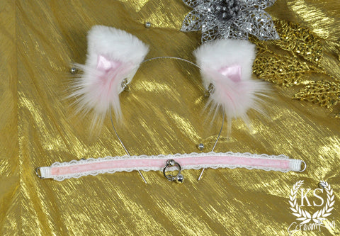 White Pink Bowless Pixie ScreamKiwi Ears and Original Day Collar