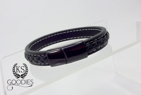 Black Faux Leather Bracelet