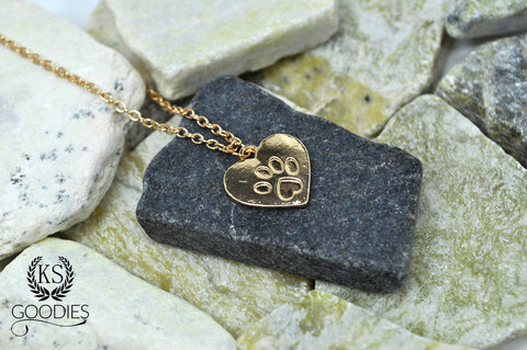 Golden Heart Paw Necklace