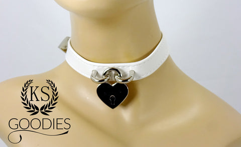 Faux Leather Heart Lock Collar