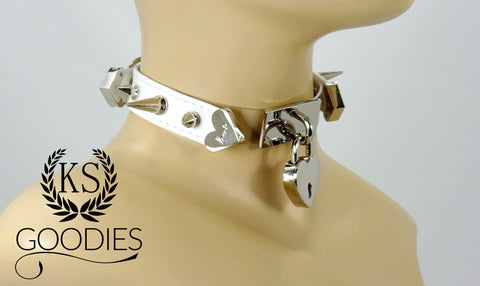 Faux Leather Silver Clear Front Collar