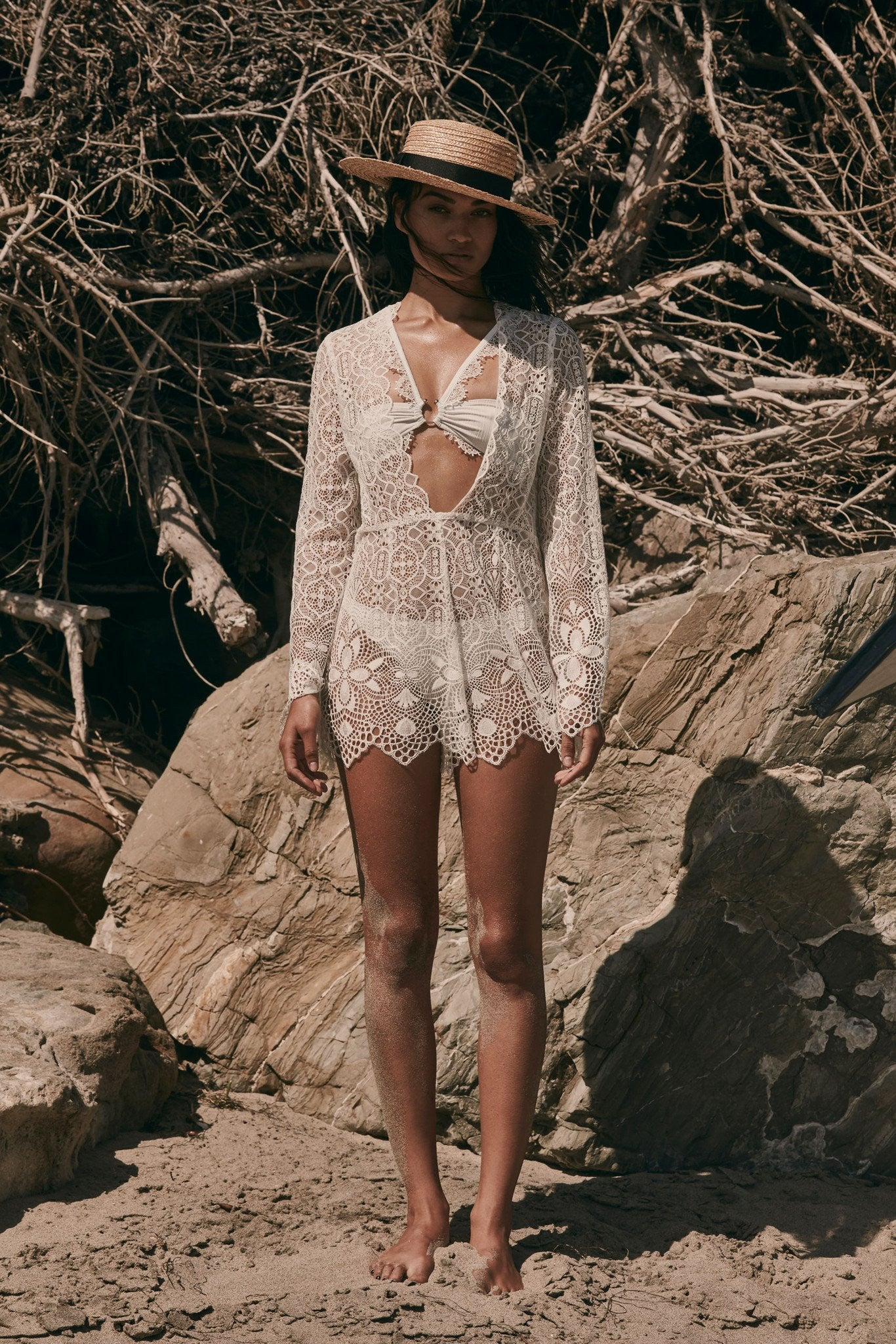 5c384746c4fa Cream colored lace swim suit cover up romper