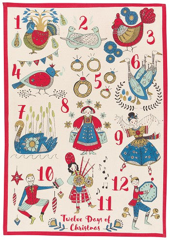 Twelve Days Of Christmas Dishtowel