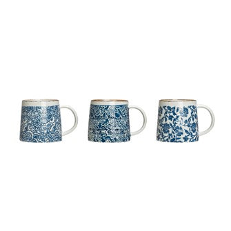 Hand Stamped Stoneware Mugs Blue and White