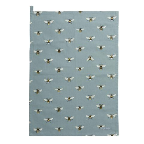 Bees Teal Tea Towel