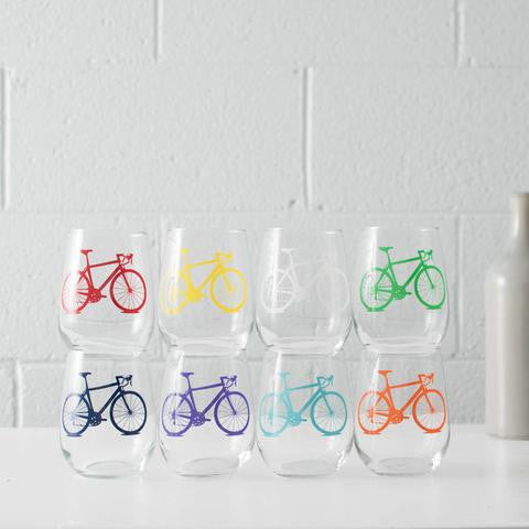 Bike Party Stemless Wine Glasses