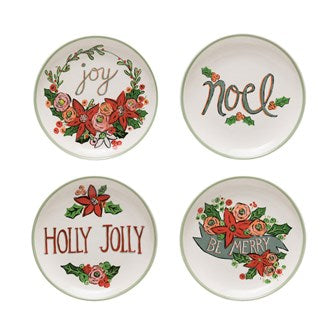 Stoneware Floral Plate with Holiday Saying